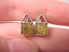 (pe28-a) AMBER GREEN square Poland .925 Sterling SILVER stud EARRINGS Jewelry