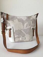 Fossil White Perforated Leather Emerson Small Hobo Crossbody Messenger ZB6796146