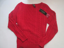 Lauren Ralph Lauren L Nwt Express Red Cable Knit Boatneck Sweater 12 14 L