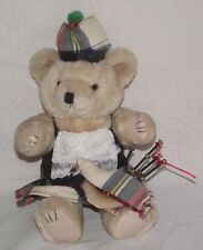 Vintage Teddy Bear with Bag Pipes Antique Doll Scottish Scotland Hand Made 13""