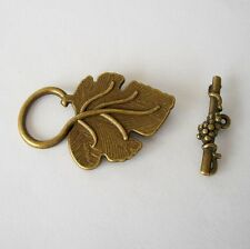 Toggle Clasps Leaf Shape Antique Bronze Color-3 Sets.