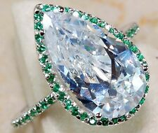 4CT Emerald & White Topaz 925 Solid Genuine Sterling Silver Ring Sz 8