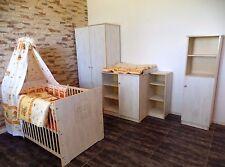 chambre de bébé COMPLET set lit 5Couleurs Armoire Commode 2 étagères blanc-gris
