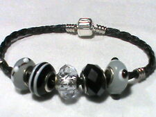 Black leather charm bracelet with 5 glass beads and Barrel lock closure