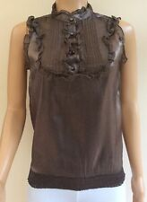 New Look Brown Metallic Satin Look Blouse Top Size 10   JT51
