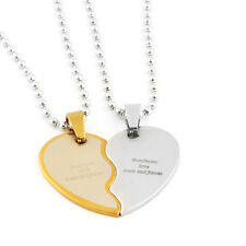 2 pcs Personalized Engraved Broken Heart Necklace Pendant Jewelry Wedding Gift