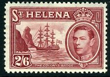 ST HELENA-1938-44 2/6  Maroon Sg 138  LIGHTLY MOUNTED MINT V9264