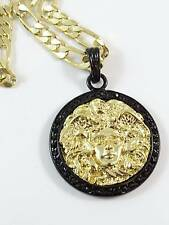 "Black Gold Color Small 35mm Men Medusa Head 24""Chain Charm #974"