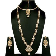 Gold Tone White Kundan Necklace Set Wedding Jewelry Bridal Long Bollywood 4Pcs