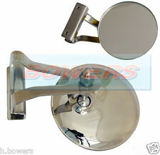 "MINI 3"" INCH CLAMP ON STAINLESS STEEL OVERTAKING PEEP QUARTERLIGHT DOOR MIRROR"
