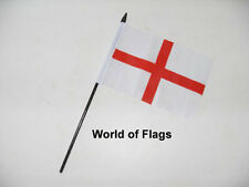 """ST GEORGE CROSS SMALL HAND WAVING FLAG 6"""" x 4"""" England Georges Day Table Desk"""