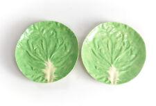 Pair Original Dodie Thayer Porcelain Lettuce Ware Leaf Salad Plates
