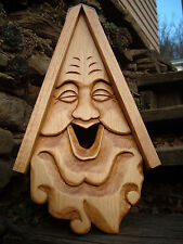 """Bird House Hand Carved Happy Face Wood Spirit 16"""""""