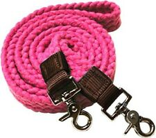 WESTERN HORSE PINK COTTON ROPING REINS FOR TRAIL OR RODEO, BARREL RACING