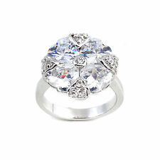 Gorgeous American Diamond Four Heart Shape Solitaire Ring Nickel Free 41 0RC