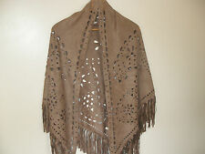 E313 Mink Brown Fawn Suede Look Hippy Boho Tassels Ladies Scarf Shawl Pashmina