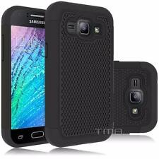 Samsung Galaxy J1 2016 Rugged Rubber Dual Layer Impact Hybrid Hard Case - Black