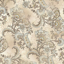 Quilting Treasures SHALIER PAISLEY Floral Ivory 100% cotton fabric by the yard