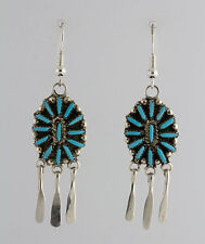 Zuni Native American Sterling Silver Turquoise Cluster Chandelier Earrings