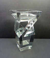 """Baccarat France Crystal Architecture Vase 9.5""""- Dramatic Sculptural Vase Perfect"""