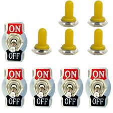 5 X Heavy Duty 20A 125V 2 Terminal ON/OFF Toggle Switch Waterproof Yellow Boot