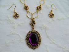 Stile Vittoriano-DIAMOND ROSE-Deep Purple AC Cristallo Placcato Oro Collana Set