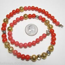 """Vintage Necklace, Strrand 8mm Bright Red Glass & Filigree GT Bead, 20"""""""