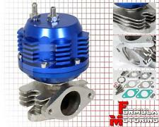 BLUE UNIVERSAL EXTERNAL 38MM TURBO CHARGER WASTEGATE BYPASS EXHAUST+SPRING 7 PSI