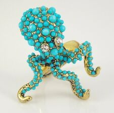 Kenneth Jay Lane Faux Turquoise Statement Octopus Ring