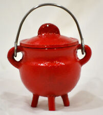 Small Red Cauldron Black Cast Iron Smudging-Charcoal-Resin-incense Cones