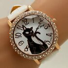 HOT Fashion Crystal Leather Band Cute Cat Dial Quartz Wrist Watch Women's Gift