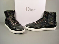 Dior Black Quilted Leather Lace Up High Top Sneakers Shoe Running Cannage 37 New