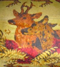 ANTIQUE HORSEHAIR CARRIAGE BUGGY WAGON BLANKET ~ STAG, BUCK, HUNTING HORN IMAGES