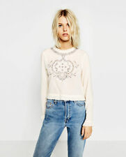 ZARA Crop Embroidered Top Long Sleeve Cotton New(R$40) Blouse w/Frills Size L(M)