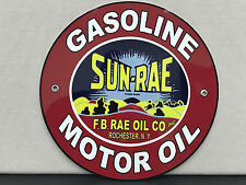 Sun Rae SUNRAE motor fuel gasoline oil garage racing vintage round metal sign
