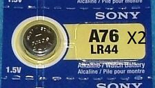 2 BUTTON BATTERIES Sony LR44/A76 Button battery Alkaline - 1, 5V
