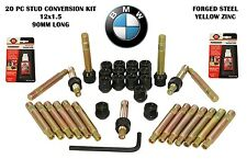 20 Pc BMW 90 MM 12x1.5 Stud Conversion W/ Black Lug Nuts + Thread Lockers + Key