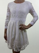 RIVER ISLAND Chelsea Girl ivory lace empire tea dress with crochet trim size 10