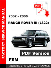 LAND ROVER RANGE ROVER III L322 2002 2003 2004 2005 2006 FACTORY SERVICE MANUAL