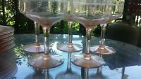 Floral Etched Pink 6 Champagne Glasses and 5 Dessert Plates