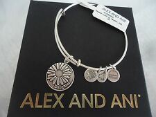 Alex and Ani Because I Love You DAUGHTER Russian Silver Charm Bangle W/Card& Box