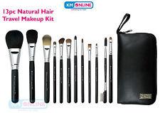 13pc Natural Hair Travel Make Up Brush Kit Powder Blush Eyebrow Liner Lip Lash