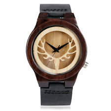 Hollow Deer Head Nature Wood Bamboo Sandalwood Genuine Leather Strap Wrist Watch
