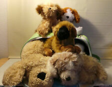 Lot of 6 plush stuffed soft cuddly shaggy dogs puppies & real dog carrier