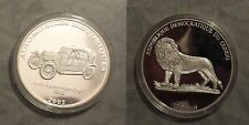 2002 Congo Large Silver Proof 10 Francs-Auto History-Audi 1912/Lion
