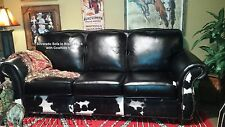 Silverado 100% Top Grain Leather Sofa in Bison Black and Cowhide Made in the USA