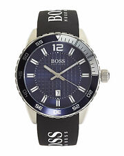 BRAND NEW HUGO BOSS 1512887 BLUE TEXTURED DIAL BLACK SILICONE STRAP MEN'S WATCH