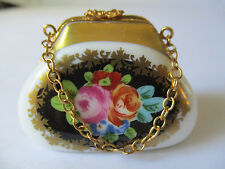 LIMOGES FRANCE PEINT MAIN PURSE WITH FLOWERS PORCELAIN TRINKET BOX - NEW