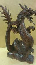 Dragon Statue Hand Carved Wood Bali Beautiful Protection Wisdom & Strength