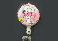 SNOOPY WOODSTOCK Pink Heart Retractable Badge Reel/ID Card Holder/Key Chain ring